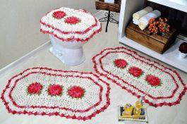Jogo de Banheiro em Crochê Vermelho Poderoso
