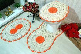 Jogo de Banheiro em Crochê - Flor Laranja