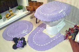 Jogo de Banheiro em Crochê Algodão Doce