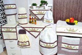 Jogo de Cozinha Ponto Cruz em Tecido Palha - Corujinhas