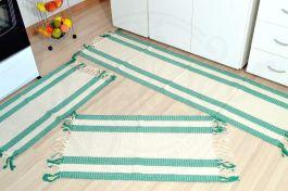 Jogo de Passadeira Modelo Casinha de Abelha - Listras Verde