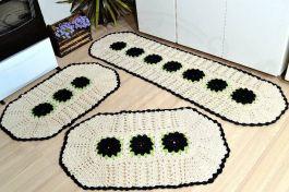 Jogo de Tapetes Especial - Flores Pretas