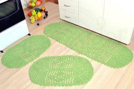 Jogo de Passadeira em Crochê Oval - Verde