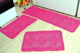 Jogo de Passadeira em Crochê Basic - Pink