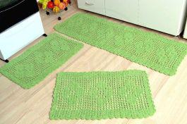 Jogo de Passadeira em Crochê Basic - Verde
