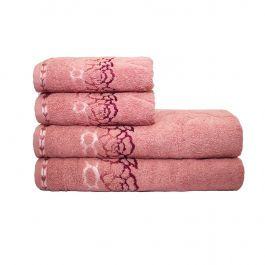 Jogo de Toalhas Banho e Rosto 4 pçs - Fleur Rosa Blush