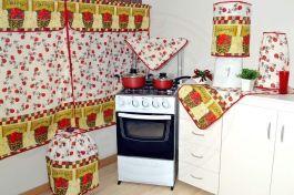 Jogo para Cozinha 6 peças - Tema Tomates em Oxford