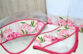 Kit Cobre Alimentos e Panos de Prato - Flores Pink