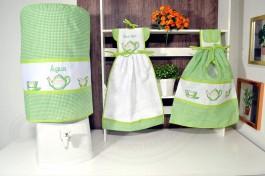kit de Cozinha 3 Peças - Bule Verde
