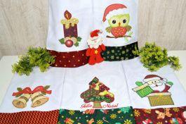 Kit  Pano de Prato  em Patchwork com 5 pçs - Feliz Natal