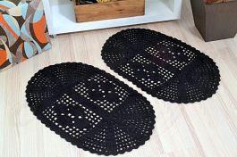 Par de Tapetes em Crochê Oval Liso - Preto