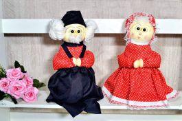 Peso Decorativo Casal Vovó e Vovô - Vermelho