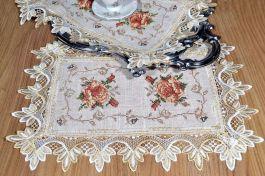 Toalha de Bandeja Bordada com Flores Marrom