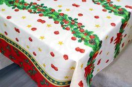 Toalha de Mesa Oxford Natal  - Bolas Vermelhas