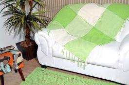 Xale de Sofá Bainha Aberta - Xadrez Verde
