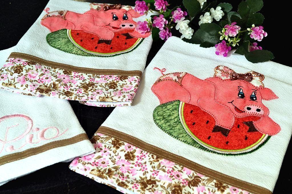 Kit de Cozinha Bordado Patchwork - Porquinha