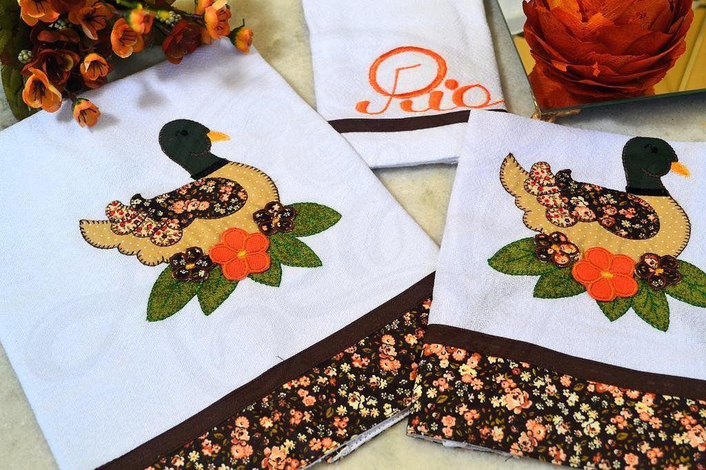 Kit de Cozinha Bordado Patchwork - Patinho Florido