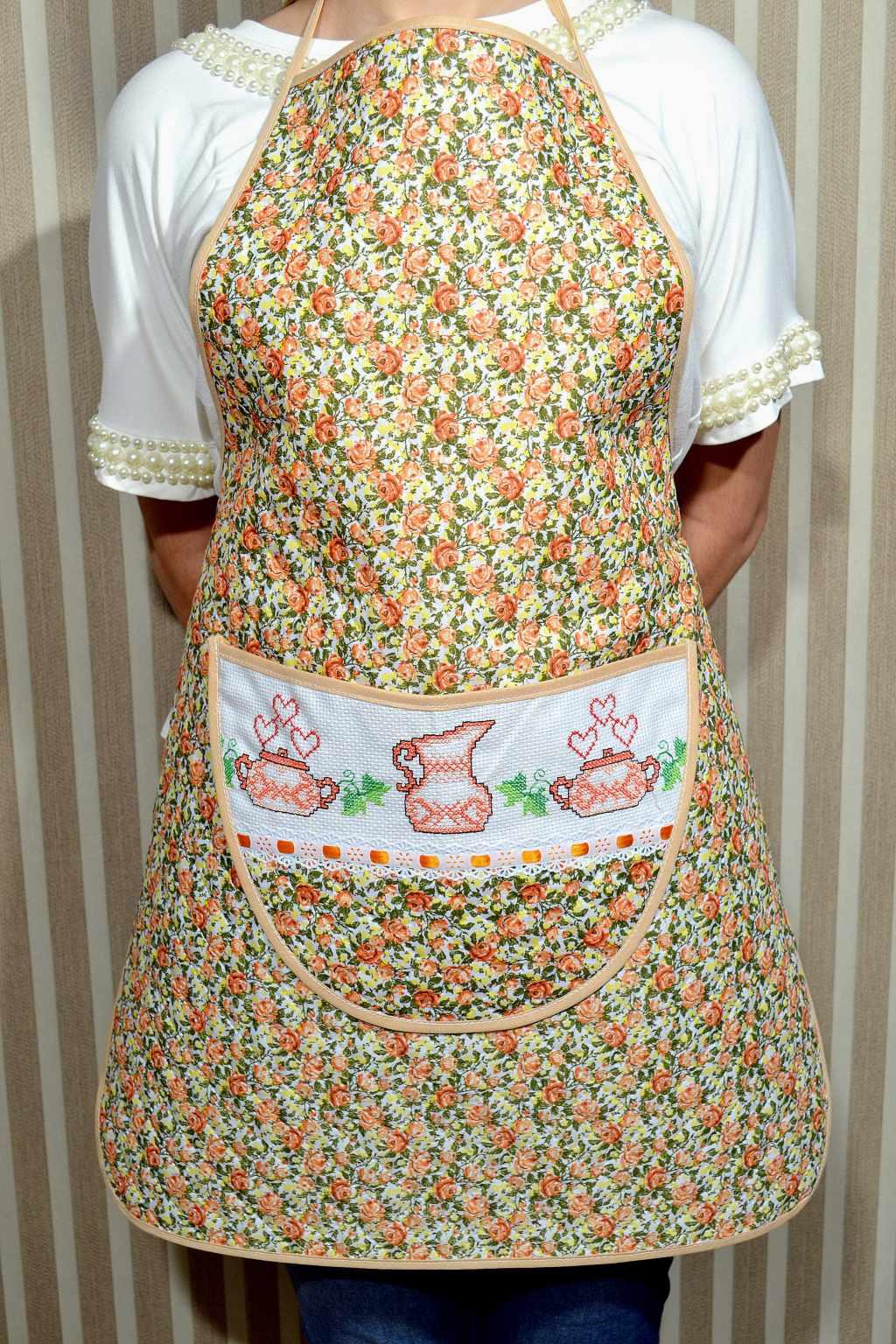 Avental de Cozinha Estampado - Floral Laranja