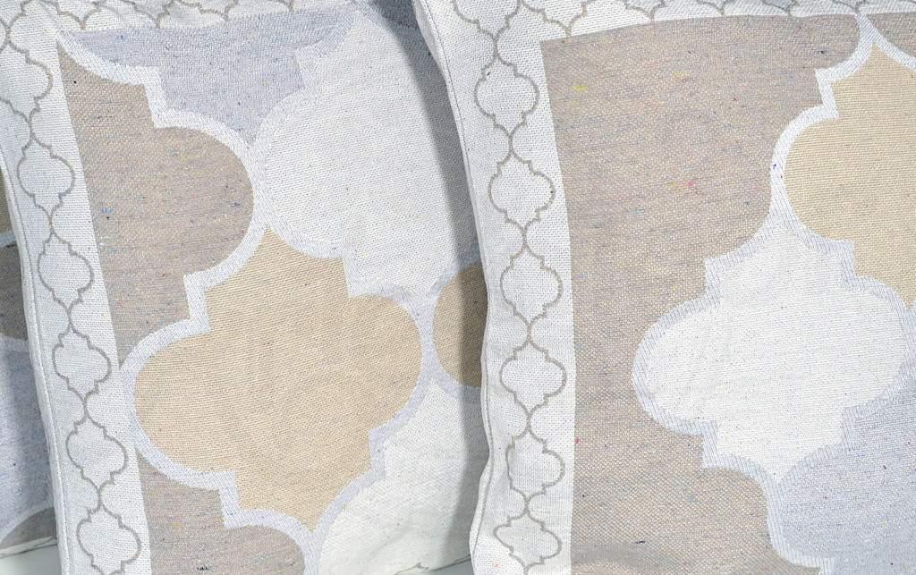 Capa de Almofada  Jacquard Rústico Dupla Face - Palha Geometrico