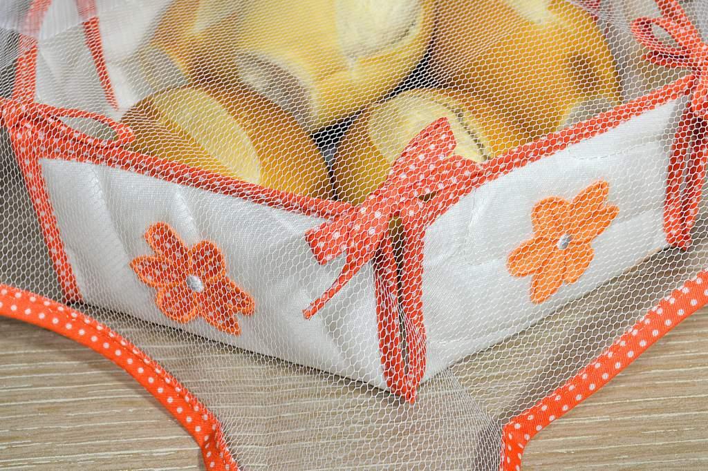Cesta de Pão em Tecido e Tule - Laranja