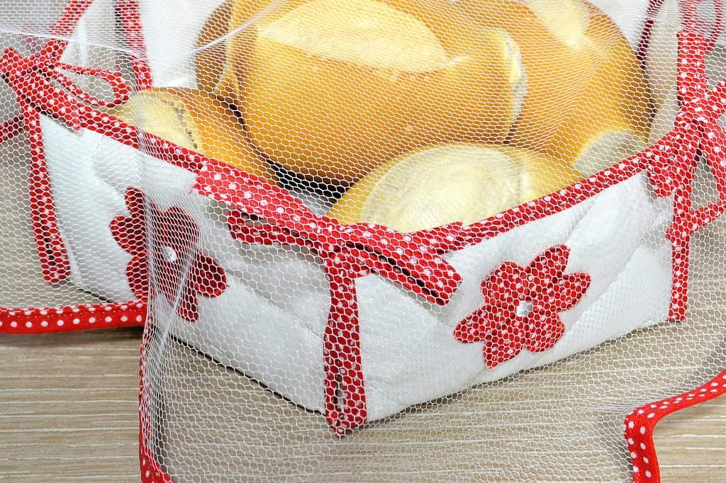 Cesta de Pão em Tecido e Tule - Vermelha