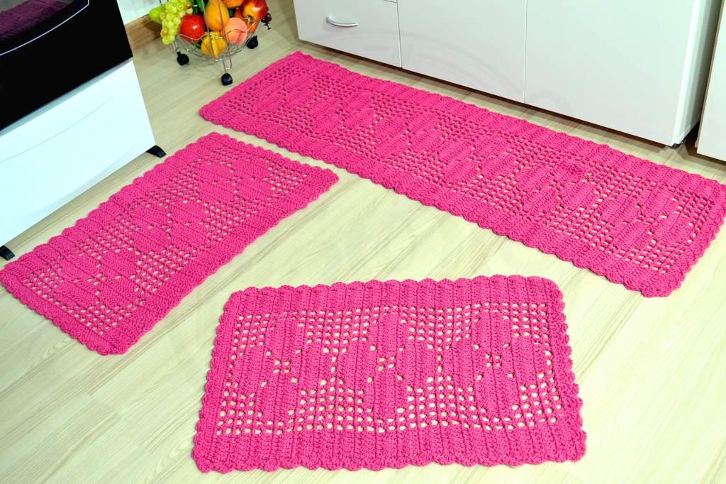 Combo Jogo Passadeira Crochê - Pink + Jogo Passadeira - Lilás
