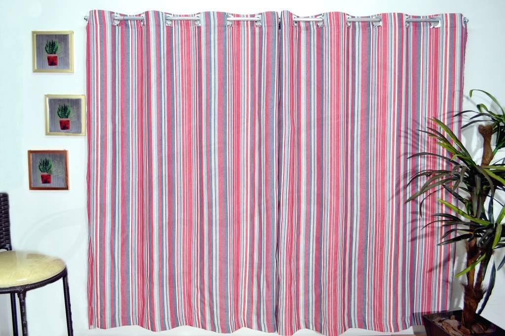 Cortina Linho Rústico 3,00 x 1,70m  Listras Vermelha