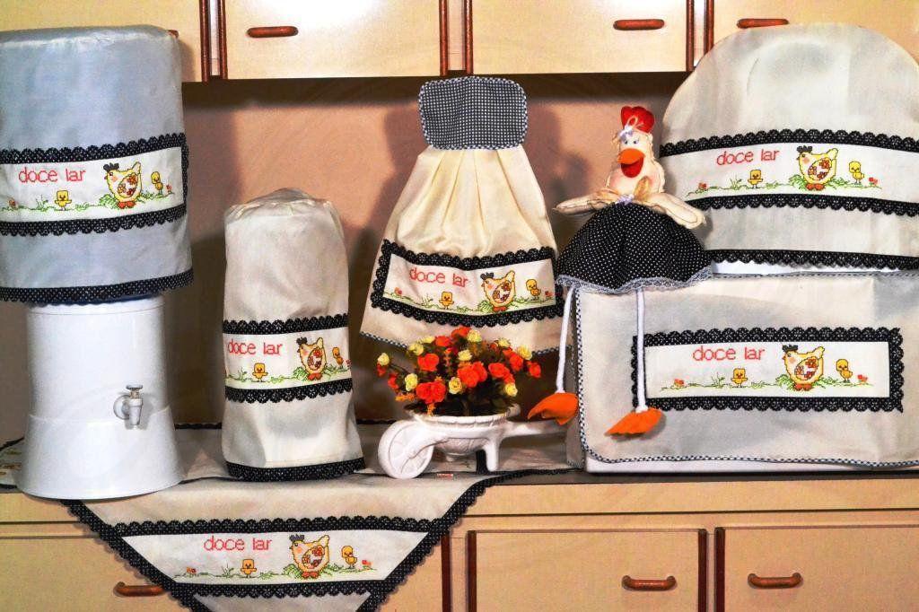 Itens para Cozinha em Bordado Ponto Cruz - Doce Lar
