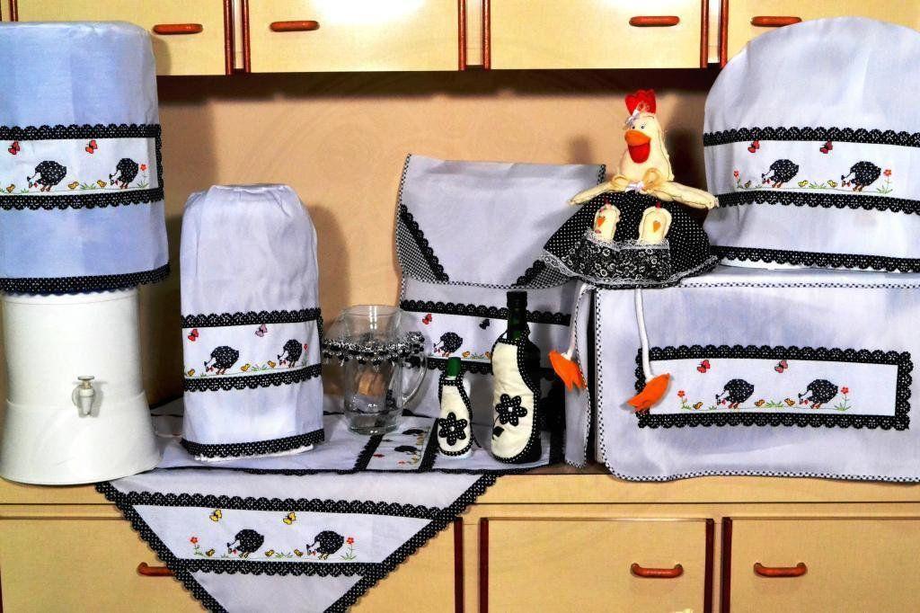 Itens para Cozinha em Bordado Ponto Cruz - Galinha D'Angola