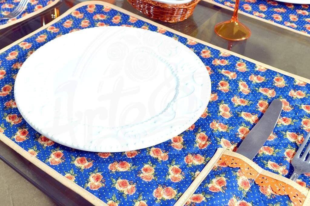 Jogo Americano Matelado com 6 Peças - Floral Azul