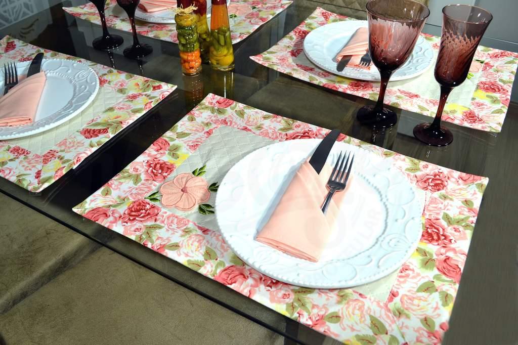 Jogo Americano Floral 16 Pçs - 8 Americanos + 8 Guardanapos - Isabelly