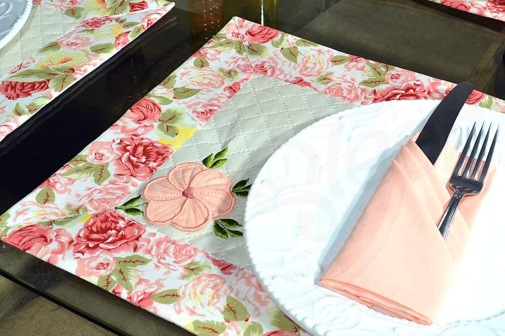 Jogo Americano Floral 20 Pçs - 10 Americanos + 10 Guardanapos - Isabelly