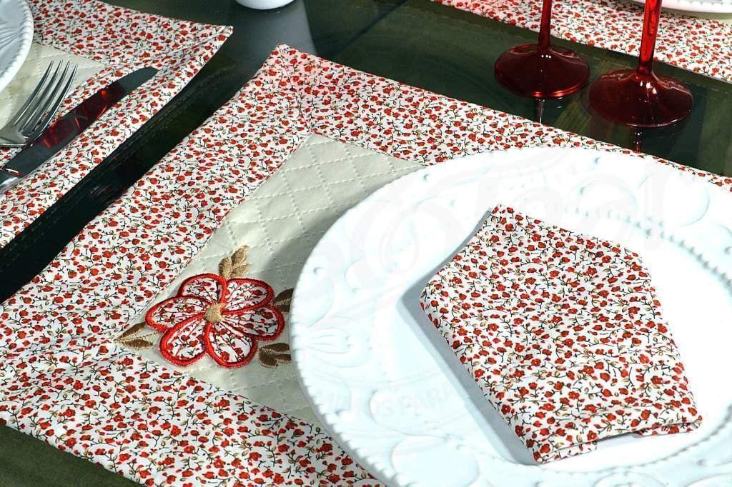 Jogo Americano Floral com 6 peças - Grazi