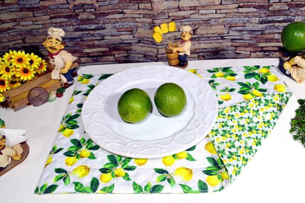 Jogo Americano Matelado Dupla Face 6 Peças - Limão Siciliano