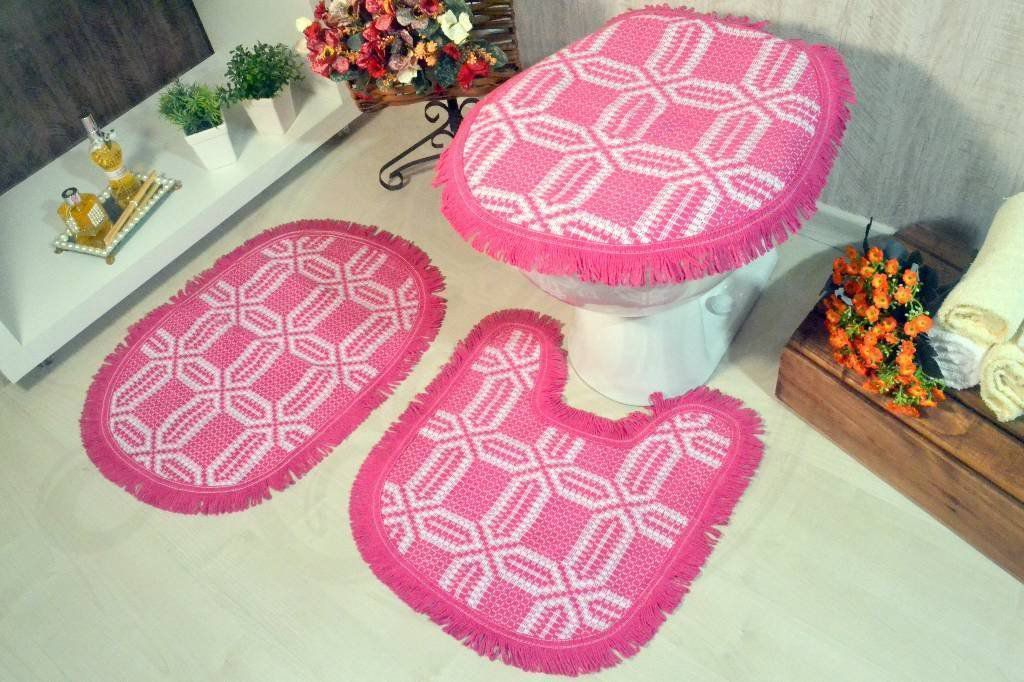 Jogo de Banheiro de Tear - Relevo Pink
