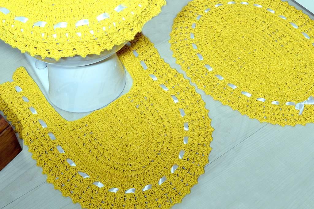 Jogo de Banheiro em Crochê - Amarelo