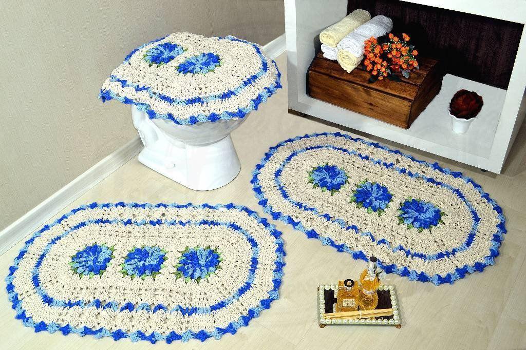 Jogo de Banheiro em Crochê Azul Mesclado