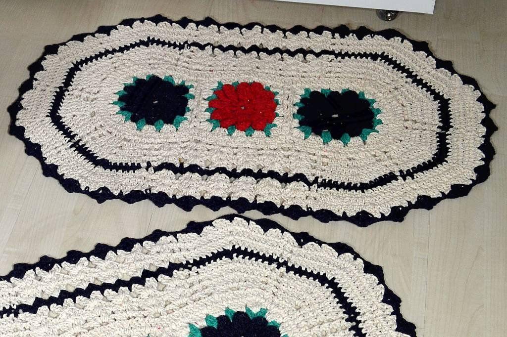 Jogo de Banheiro em Crochê Tricolor