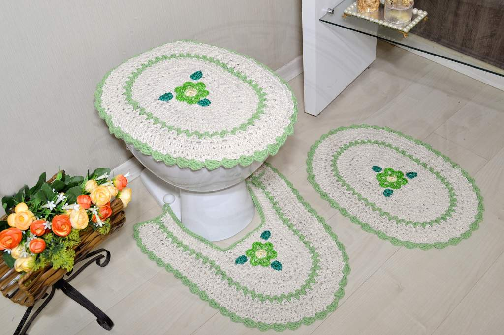 Jogo de Banheiro em Crochê - Detalhes em Verde