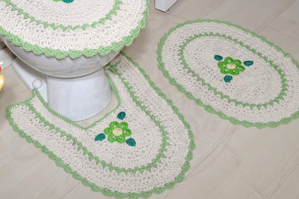 Jogo de Banheiro em Crochê Detalhes em Verde