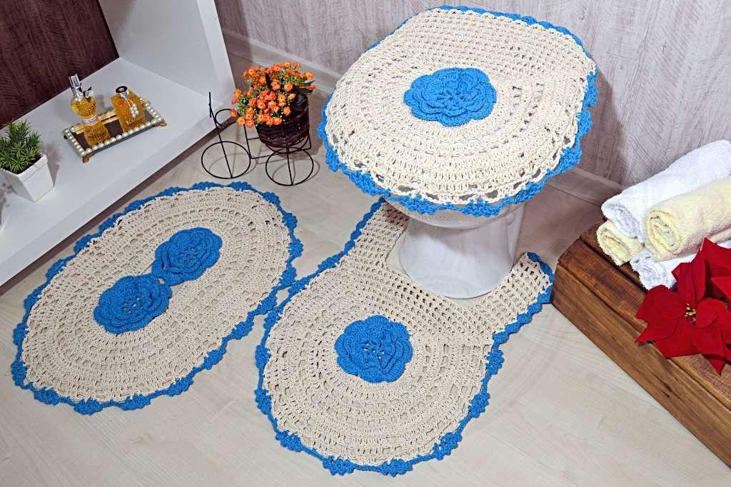 Jogo de Banheiro em Crochê - Flor Azul