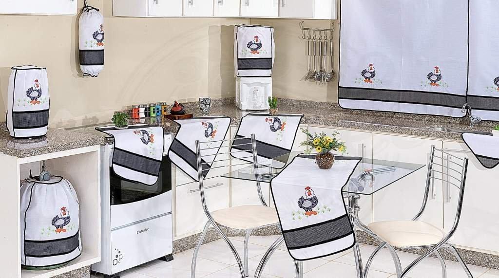 Jogo de Cozinha em Patchwork com 12 Peças - Galinha Charmosa