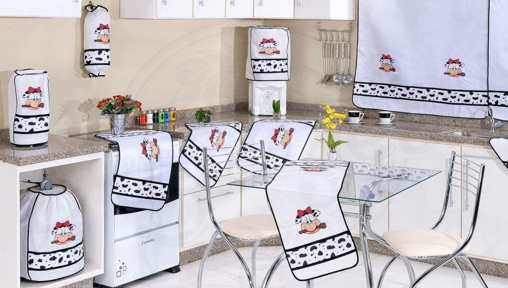 Jogo de Cozinha em Patchwork com 12 Peças - Vaquinha Malhada