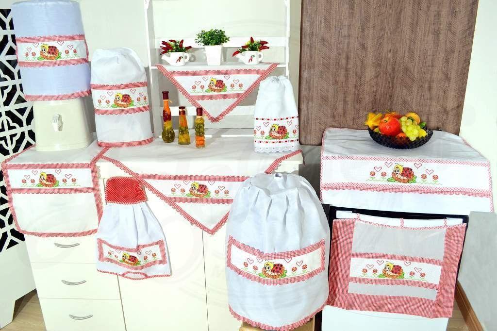 Jogo de Cozinha Ponto Cruz - Joaninha em Vermelho