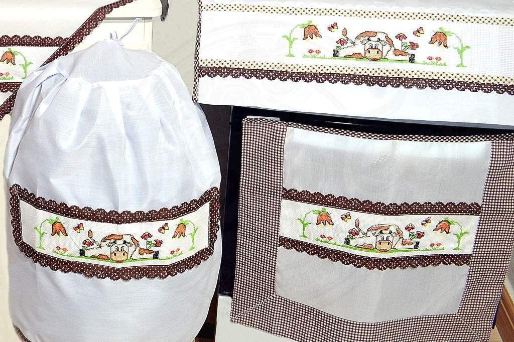 Jogo de Cozinha Ponto Cruz - Vaquinha com Flores