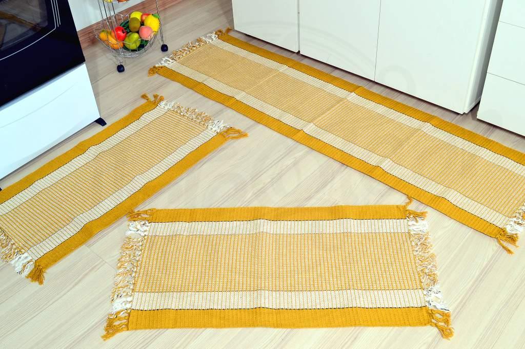 Jogo de Passadeira Modelo Casinha de Abelha - Mostarda