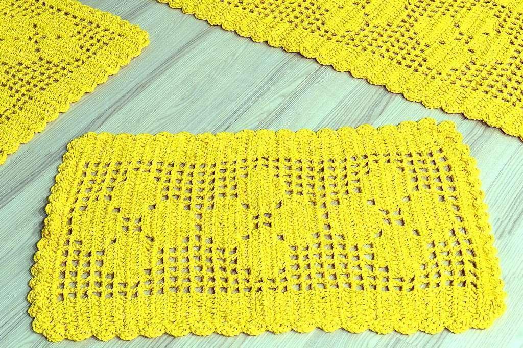 Jogo de Passadeira em Crochê Basic - Amarelo