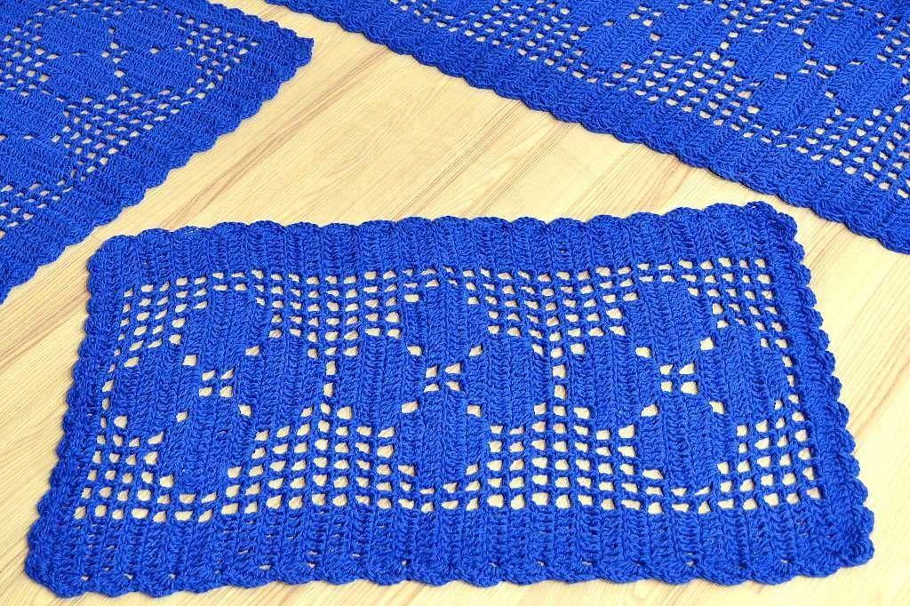 Jogo de Passadeira em Crochê Basic - Azul Royal
