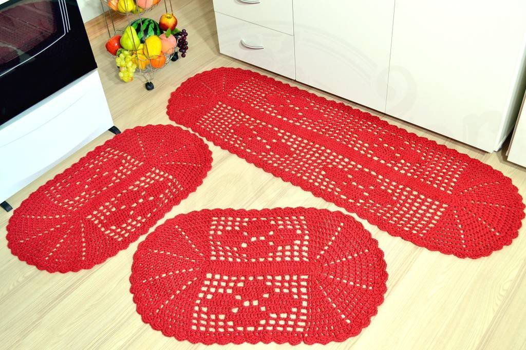 Jogo de Passadeira em Crochê Oval - Vermelho