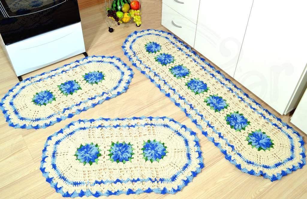 Jogo de Tapetes Especial - Flores Azul Mesclado